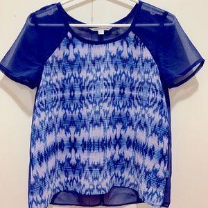 American Eagle Blue Tie Dye Chiffon T-Shirt Blouse